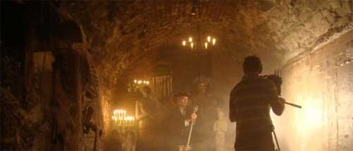 Dale Jarvis filming in the Catacombs - storytelling ghost stories