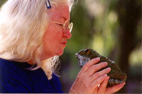 Elizabeth Ellis storyteller kissing a frog while storytelling for children.