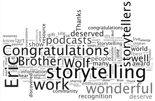 A list of words used to praise Brother Wolf storytelling work on the Show in the last seven days...
